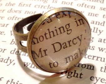 Mr Darcy Jane Austen unique vintage style altered book quote adjustable ring