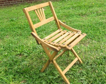 Vintage Childs Folding Chair Wooden Folding Chair 1950s Childrens Chair Furniture
