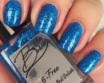 """Cobalt Sparkle"""" Blue Glitter polish -  Full size 15ml bottle."""