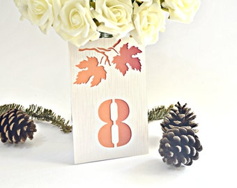 Fall table numbers, Autumn table numbers, wedding table numbers, table numbers, leaf table numbers, orange table number, fall wedding decor