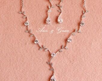 Bridal Jewelry Set, Wedding Jewelry Set, Rhinestone Necklace Earrings