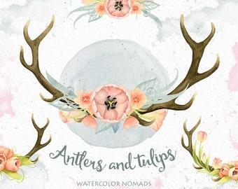 Watercolor  Deer Antlers Clipart, spring flowers, tulipa, digital watercolor, DIY