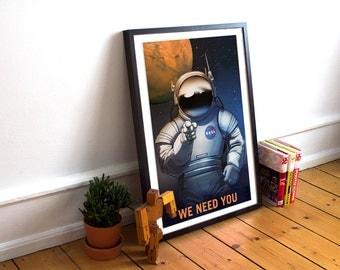 NASA Mars travel recruitment poster - We need you!