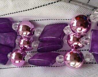 Cousin 39-Piece Acrylic Purple Rectangle/Pearl Strand
