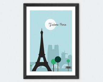 Paris print, I love Paris print, J'adore Paris, Paris, Eiffel Tower, travel poster, city prints, illustration prints, birthday gifts, a4, a3