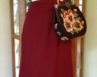 Vintage 80's Rust Burgundy Wool Skirt *  Size Small
