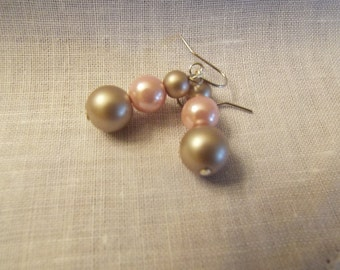 Pink and Champagne Bead Earrings