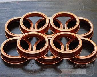 Copper Bands / Rings for Mason Jars | Choose for regular or wide mouth jars | 10 pack