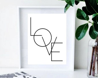 Abstract  Printable Typography LOVE Art Print in White/Black Wall Art Home Decor
