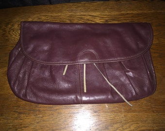 1980s Real leather vintage clutch maroon purse