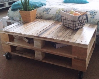 Industrial Pallet Coffee Table LEMMIK in Bare Wood finish