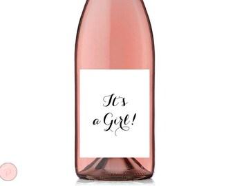 It's a Girl Wine Label, Celebration Wine Bottle Label, Printable Wine Bottle Labels, Baby Shower Wine Label TG00 sign TH00