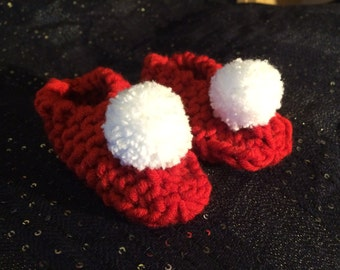 Pom Pom Baby Booties, Bootie Set, Baby Gift, Red Baby Slippers, Handmade Baby Booties, Baby Slippers