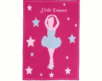 Pink Knit Baby Blanket Dancer Girls Gift