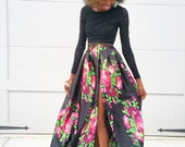 "Florals on Black High Slit Satin Ball Skirt ""Tiffany"" XS-6XL Any Height"