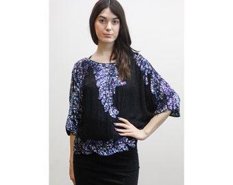 Vintage Black Silk Beaded Dolman Blouse w/ Blue & Purple Sequins 80s 1980s Floral Sequin Evening Blouse M / L Drapey Beaded Sequin Top