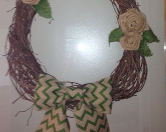Handwoven Grapevine with burlap rosettes and green chevron