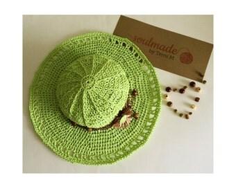 Crochet sun hat.Crochet Floppy Hat.Knit Summer hat.Crochet beach hat.Wide brim hat.Knit sun hat.Gift for her.Raffia sun hat.Green sun hat