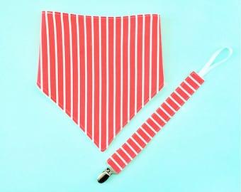 Bandana Bib Binky Clip Set - Baby Gift - Red Stripes