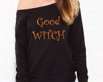 Good Witch Halloween Sweater. Halloween Costume. Halloween Sweatshirt. Halloween Jumper. Halloween Outfit. Witch Sweater. Off The Shoulder.