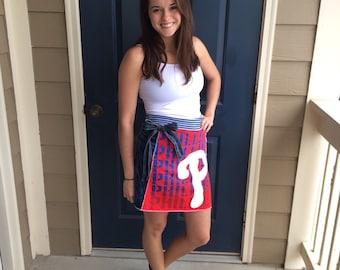 Philadelphia Game Day Skirt, made from upcycled tshirts, size Medium M