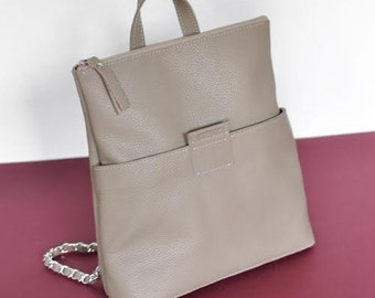 Beige leather backpack- K2