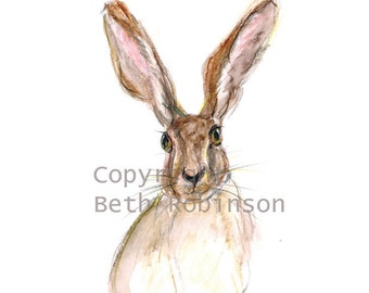 Hare art card