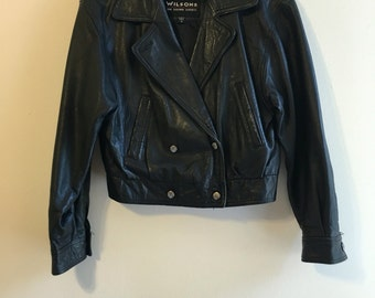 Black Wilsons Leather Cropped Motorcycle Jacket