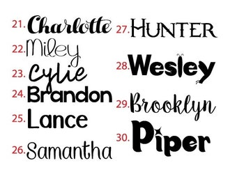 Vinyl Name Decal - Small