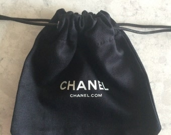 Chanel Black Small Cloth Drawstring Bag NEW