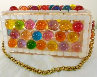 Vintage 1960's Multicolored Jewel Bubble Lucite Box Purse with Goldtone Chain