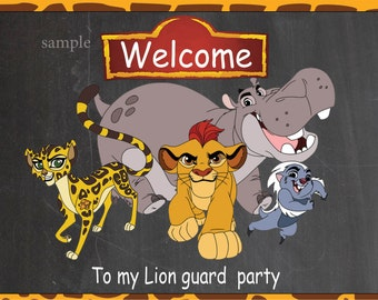 The lion guard door sign- The lion guard  party, birthday invitation , instant download