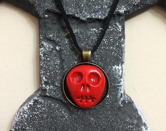 Red Skull pendant, handmade, free U.S.shipping.