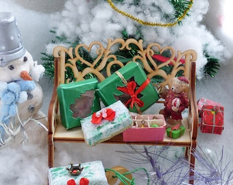 Christmas decorations set. Dollhouse miniature