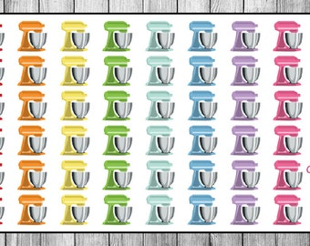 48 Rainbow Stand Mixer Planner Stickers // Baking