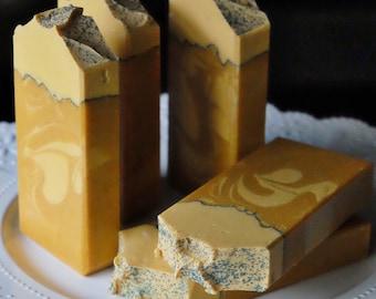 Lemongrass handcrafted soap featuring Goat Milk, Kaolin Clay & Turmeric