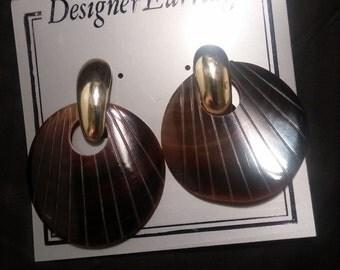 Brown Retro Fun New Pierced Earrings
