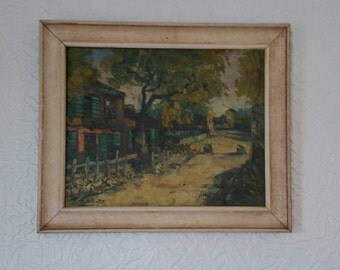 Leopold Lecompte 1890-1960 Belgian - Impressionist-Country Street Scene Oil on Canvas