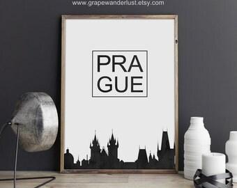 Prague print, Prague art, Prague skyline, Czech Republic art, Czech Republic print, typography print, scandinavian modern, office décor