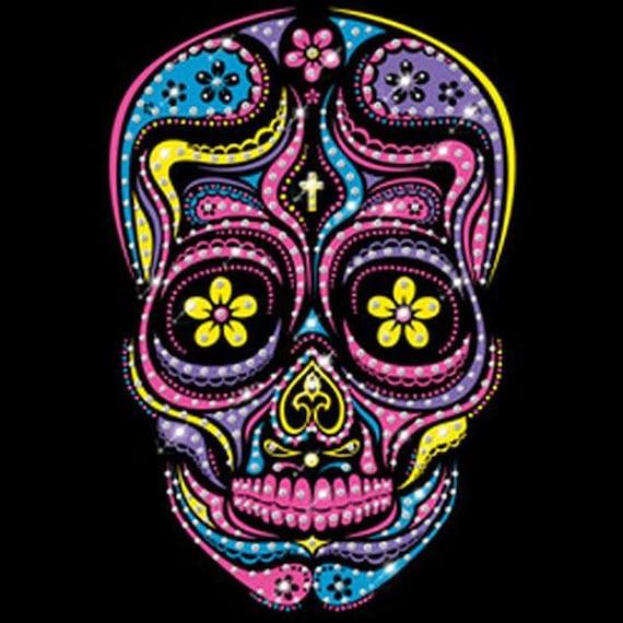 Womans Long Sleeve T Shirt Rhinestone Neon Muerta Day Of