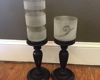 2 Apothecary Style pedestal jars