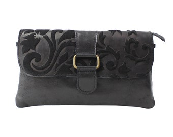 Woman's clutch, shoulder bag, handbag in genuine leather Made in Italy 10023 Black