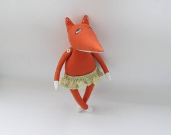 Linen Red Fox / Linen stuffed toy Fox / Children's room decor / OOAK Fox / Primitive Fox