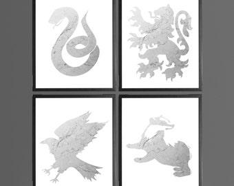 Harry Potter Marble Modern Art Prints Grey - Set of 4