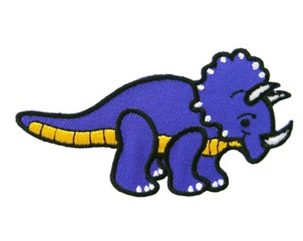 Cute Triceratops Jurassic Dinosaur Applique Iron on Patch