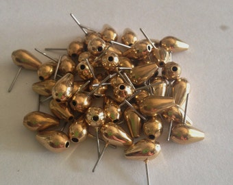 Forty (40) Odd and Wonderful Little 1970s Bright Gold Toned Earring Tops, Top Through Holes, Very Unusual