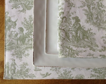 Green Toile Placemats and Napkins, Toile Placemats, Toile Napkins, French Country Decor