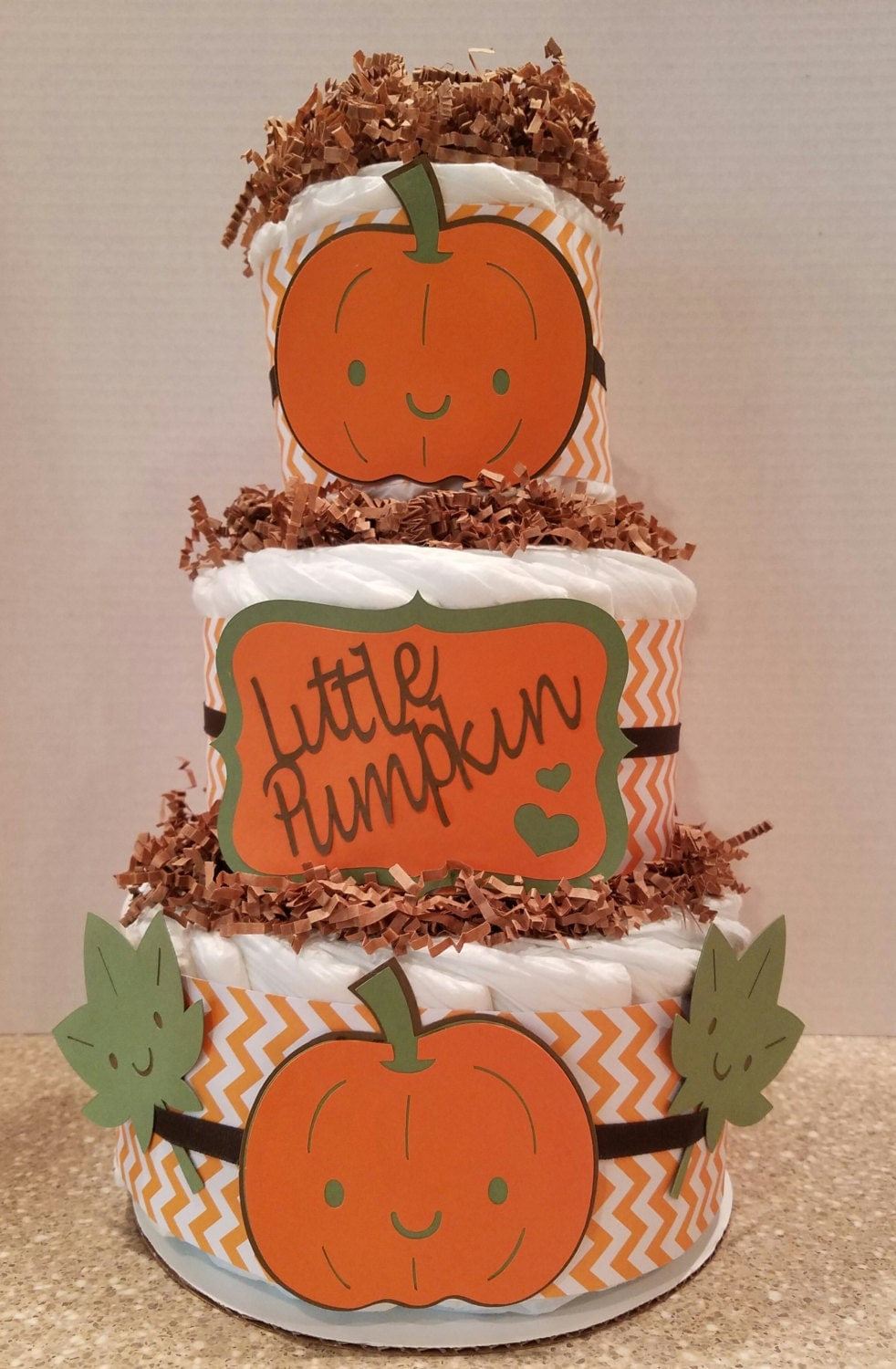 Little pumpkin diaper cake baby shower centerpiece fall baby for 3 tier pumpkin decoration