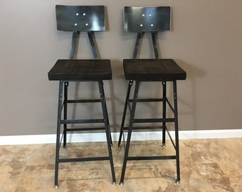 Reclaimed Bar Stools | Urban Barn Wood |Set of (2) with Metal Backrest