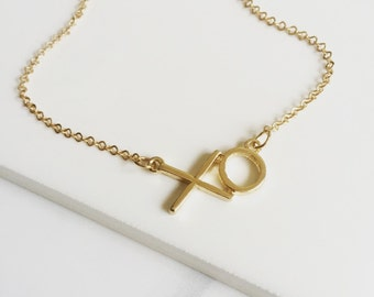 Gold Xo Necklace, Chic Necklace